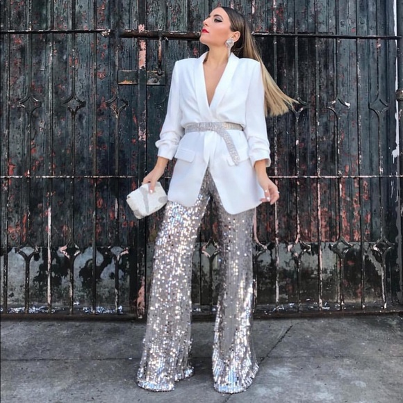 Zara Flared Sequinned Trousers Pants Size M